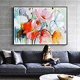 tzxdbh Flores abstractas de la Acuarela Pinturas de la Pared Flores Modernas Arte Pop Impresiones de la Lona y Carteles Cuadros Decorativos para la Sala de Estar