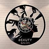 Reloj de pared para salón de belleza, decoración de maquillaje, de vinilo, para peluquería, moderno reloj de pared, regalo para peluquería