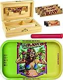 yaoviz Set RAW Rolling Tray Brazil Small Metall - Holzbox Medium Holz 155 x 85 x 48mm + 3X 32er RAW...