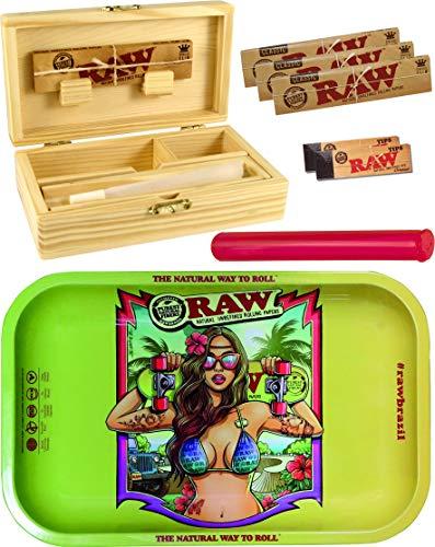 yaoviz Set RAW Rolling Tray Brazil Small Metall - Holzbox Medium Holz 155 x 85 x 48mm + 3X 32er RAW KS Slim Papers + 2X 50er RAW Filtertips + Buddies Hülle 120mm bunt