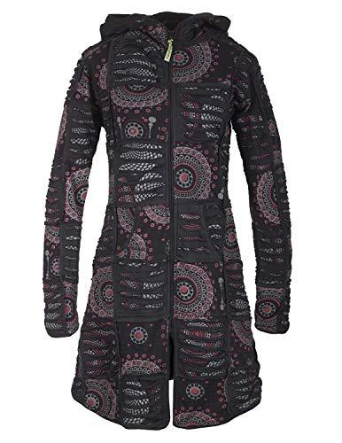 Vishes - Alternative Bekleidung - Damen Hippie Patchworkmantel Baumwolle Cutwork Druck Zipfelkapuze schwarz 36-38