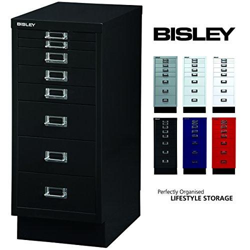 Bisley Schubladenschrank 29 aus Metall | Schrank mit 8 Schubladen und Sockel | Büroschrank DIN A4 |...