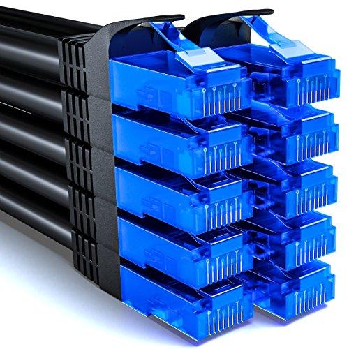 deleyCON 10x 0,5m CAT6 Cavo di Rete Set - U-UTP RJ45 CAT-6 LAN Cavo Patch Cavo Rame per Interruttore Router Modem Ripetitore - Nero