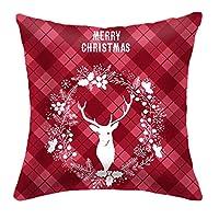 Entweg クリスマスの装飾、メリークリスマスコットン冬鹿枕カバークリスマス装飾スロー枕カバークッションカバー20×20スタイルA