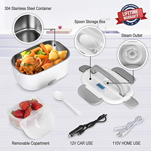 Electric Lunch Box 2 in 1, Electric Lunch Box Food Heater Car and Home Use Portable Lunch Heater 110V