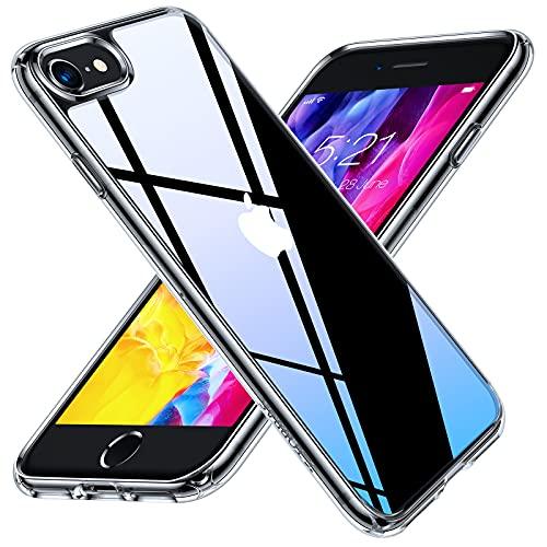 「2021最新版」TORRAS iPhone se2 用 ケース iphone8 用 ケース iphone7 用 ケース 強化ガラス 薄型 高透明 旭硝子9H 10倍黄変防止 高耐衝撃 ストラップホール付き 軽量 アイフォン SE SE2 7 8 用カバー (クリア)