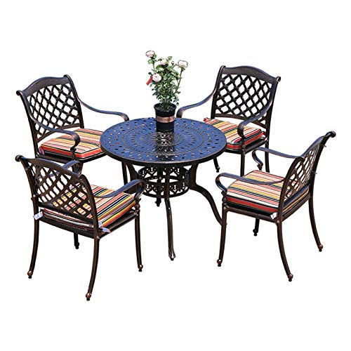 DYYD 5 Piece Iron Tables and chairs, Suit Patio Dining Sets Outdoor Cast Aluminum Dining Set for Patio or Deck, for Balcony, Poolside, Backyard Garden Furniture Sets