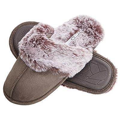 Jessica Simpson womens Comfy Faux Fur House Scuff Memory Foam on Anti-skid Sole Slipper, Grey, Large US