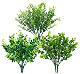 6 Bundles Artificial Greenery Stems Mixed Fake Plants Eucalyptus Rosemary Magnolia Stems Faux Plastic Artificial Plants for Outdoor Indoor Garden Home Window Box Decor