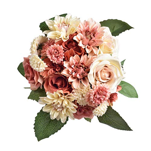 Aonewoe Fake Flowers 2 Pack Silk Dahlia Flowers Wedding Bridal Bouquet Rose Artificial Flowers for Garden Party Home Decoration