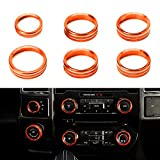 RDBS Interior Knob Ring Covers Trim Kit [6-PCS], Aluminum Air Conditioner Stereo Volume/Tune Trailer/4WD Switch Knob Button Console Covers Compatible with 2016-up Ford F150 XLT, Orange