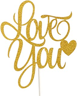 Flairs New York Happy Birthday Decorations Cake Toppers Party Props (Gold Glitter Love You Heart)
