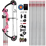 """PANDARUS Compound Bow Archery for Youth and Beginner, Right Handed,19""""-28"""" Draw Length,15-29 Lbs Draw Weight, 260 fps (Pink)"""
