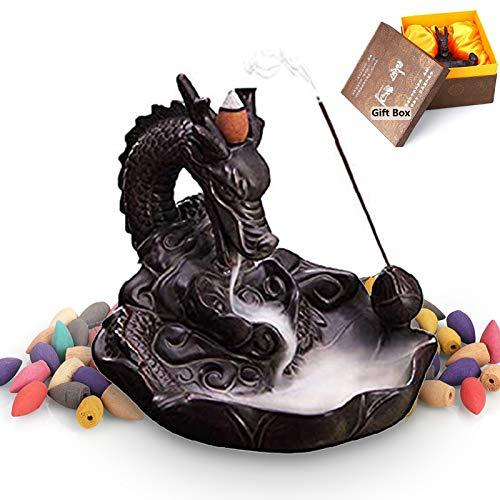 XUDREZ Drachen-Rückfluss-Räuchergefäß, Handarbeit, Keramik, Räucherstäbchenhalter, Heimdekoration, mit 20 Rückfluss-Räucherkegeln, Geschenkbox