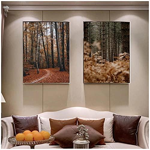 artaslf Moderno bosque de otoño arte lienzo pintura sala de estar pasillo oficina decoración del hogar-50x70cmx2 sin marco