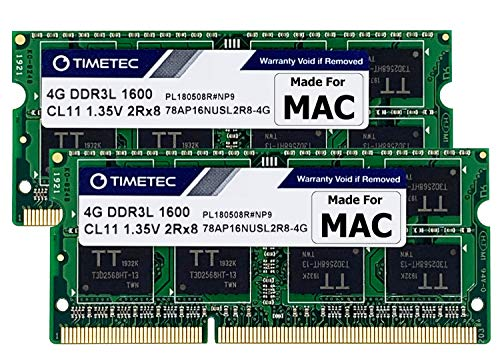Timetec 8GB KIT(2x4GB) Compatible for Apple DDR3L 1600MHz for Mac Book Pro (Early/Late 2011,Mid 2012), iMac(Mid 2011,Late 2012,Early/Late 2013,Late 2014,Mid 2015), Mac Mini(Mid 2011,Late 2012) MAC RAM
