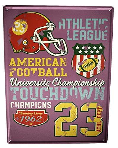 LEotiE SINCE 2004 Blechschild Wandschild 30x40 cm Vintage Retro Metallschild Retro American Football