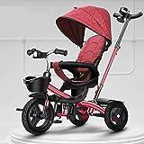 GCXLFJ Triciclo Bebe Infantil 4 En 1 Sombrilla Triciclo,1-6 Años De Edad Niño Al Aire Libre Triciclo,Ajustable con Asa Triciclo,2colores (Color : Rosso)