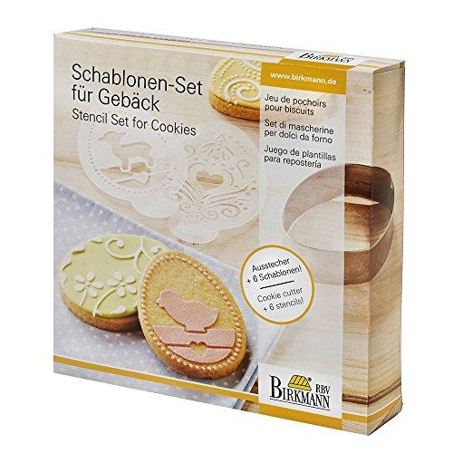 Birkmann RBV, 146013, Gebäck Ostern, 7-teilig, 6 Schablonen-Set, 18/8 Edelstahl, braun, 2,5 x 7,7 x 7,7 cm, 4-Einheiten
