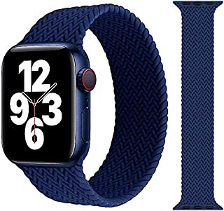 braided Silicone solo loop replacement band for apple watch (42mm/44mm - large, Navy Blue)