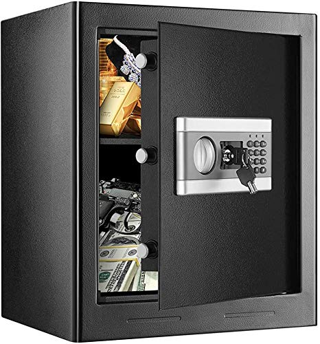 1.7 Cub Fireproof and Waterproof Safe Cabinet Security Box, Digital Combination Lock Safe with Keypad LED Indicator, for Cash Money Jewelry Guns Cabinet (Black)