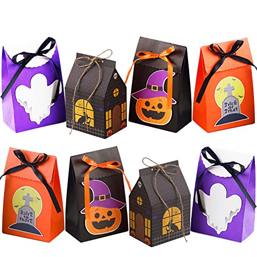 NIMU 12 Pieces Premium Halloween Bags with Special Design Reusable Craft Gift Paper Boxes for Presents Bundle Trick or Treat Theme Gift Wrapping Bags Great Holiday Bulk