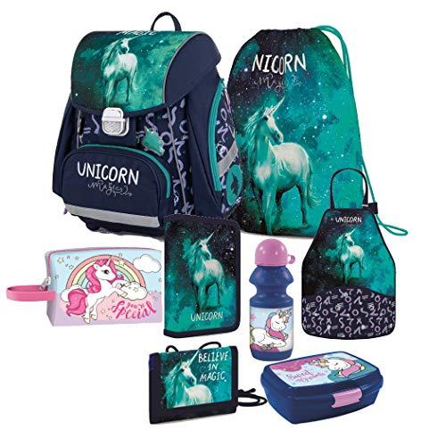 Einhorn Unicorn Pegasus Pferd Pony Horse 8 Teile Set Schulranzen Ranzen FEDERMAPPE TORNISTER Rucksack inklusive Sticker von Kids4shop Tasche