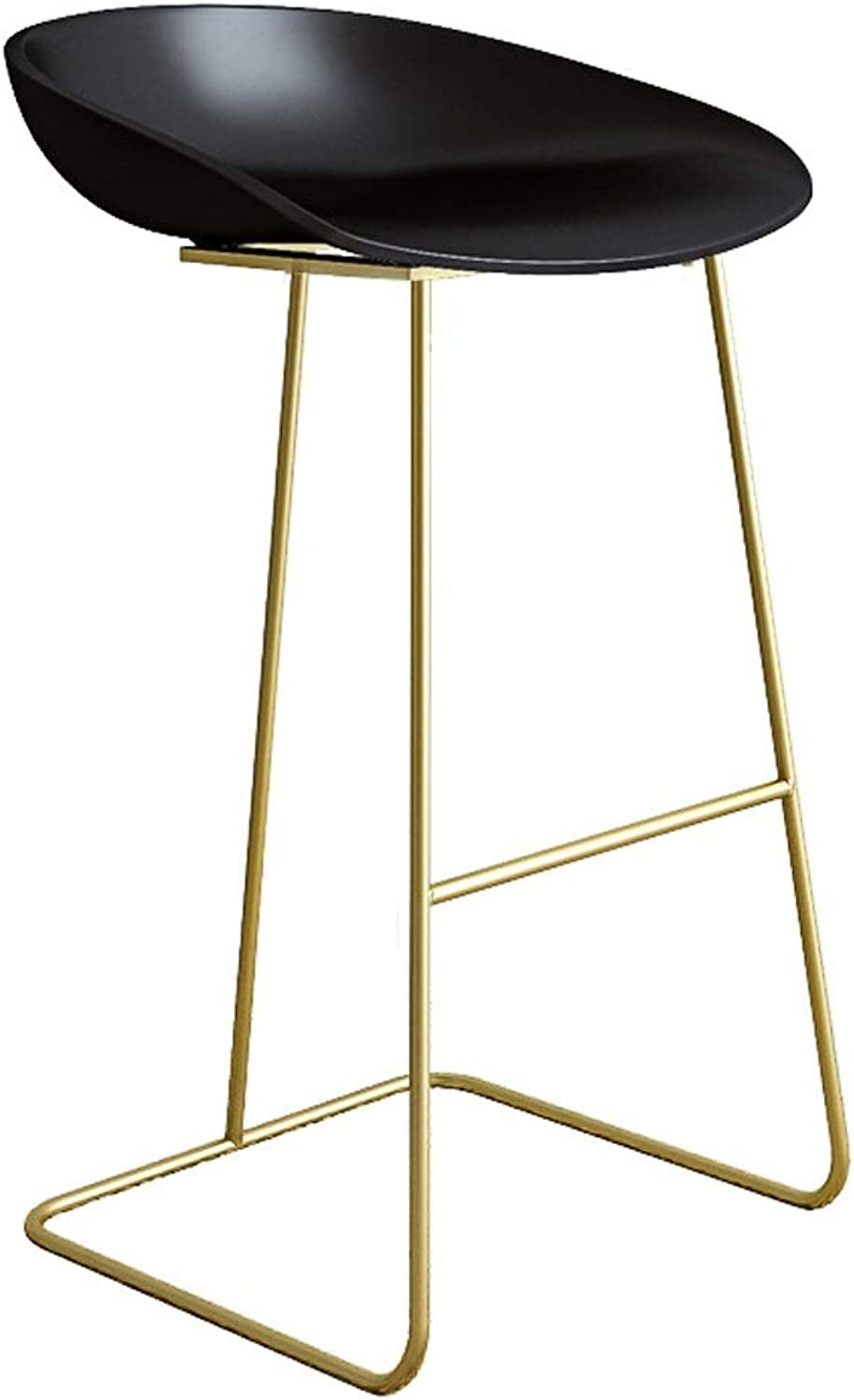 Nordic Bar Chair gold Wrought Iron Stool - European Style Simple Backrest High Chair - Home Bar and Other Scenes Wild (color   G, Size   75cm)