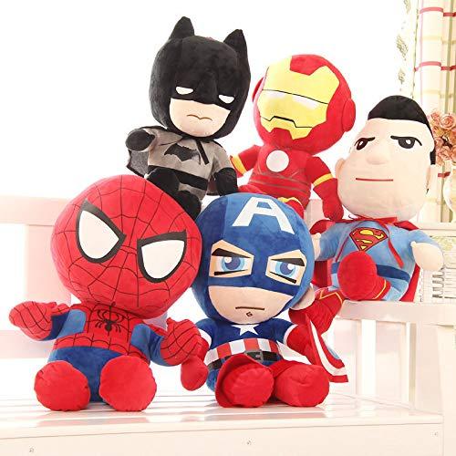 Avengers pop knuffel, Marvel Batman Captain America pop, Spiderman lappenpop, pluche kussen op het bed voor jongens, een set van vijf 25CM verjaardagsgeschenken