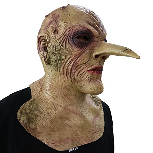 Die große Hexe The Grand Witch mit riesiger Nase Maske - perfekt für Fasching, Karneval & Halloween - Kostüm für Erwachsene - Latex, Unisex Einheitsgröße