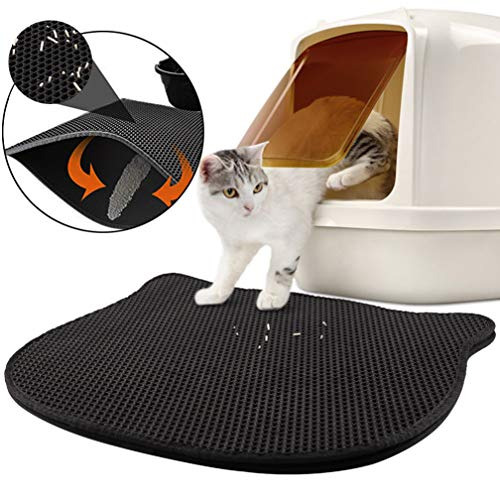 Green House Cat Litter Mat Litter Trapping Double Layer, Large Size 27' X 23' Cat Shape Waterproof Anti-Slip Honeycomb Double-Layer Design Cat Litter Box Pad