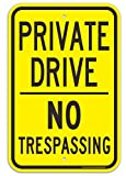Faittoo Private Drive Sign, No Trespassing Sign, 18 x 12 Inches Engineer Grade Reflective Sheeting Rust Free Aluminum, Weather Resistant, Waterproof, Durable Ink, Easy to Mount, Indoor & Outdoor Use
