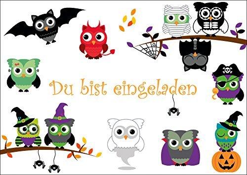 8-er Set gruselige Eulen-Einladungskarten (10646): Einladungen zur nächsten Grusel- oder Halloween-Party von EDITION COLIBRI © - umweltfreundlich, da klimaneutral gedruckt