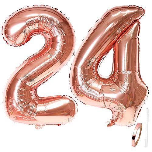 Liitata Globos con número 24 de color oro rosa gigante para niñas y mujeres, tamaño XXXL, globos de helio de 100 cm para 24 cumpleaños, bodas, aniversarios, graduaciones, fiestas, decoración