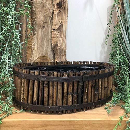 Homes on Trend Rustikaler Boho-Stil gefütterter ovaler Bambus Übertopf Küche Garten Kräuterblumentopf