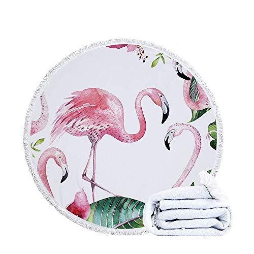 ETH Ronde strandhanddoek deken, 3D FlamingoBath handdoek microvezel sneldrogende aquarel tropische tafelkleed sjaal lichtgewicht zonnebrandcrème 150cm/59in duurzaam