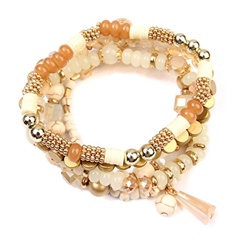 RIAH FASHION Bead Layering Multi Color Statement Bracelets - Stackable Beaded Strand Stretch Bangles (Bohemian Mix - Natural)