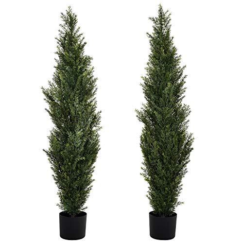 YQing 2 Stücke Künstlich Zypressen Baum im Topf, Topiary Cedar Tree Coniferen Bäume Zedern Konifere Baum Deko UV-Bewertet Innen Draussen Künstliche Pflanze Dekor