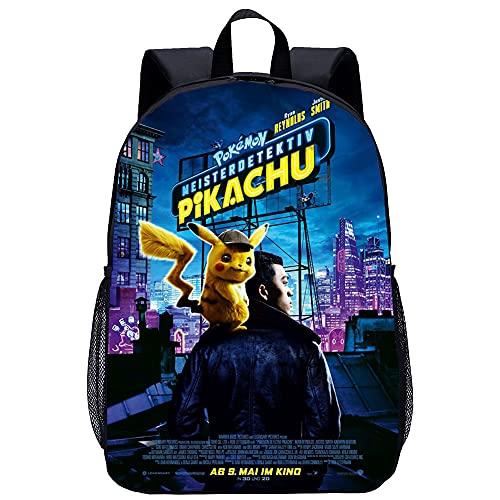 KKASD Mochila impresa en 3D Detective Pikachu Mochila clásica Mochila portátil duradera unisex 45x30x15cm