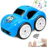 BIBIELF RC Cartoon Car Track Cute Mini Interactive Cars 2.4 GHz Remote Control Car Toy with Music and Sound, 4 Modes for Toddlers Kids Boys Girls - Blue