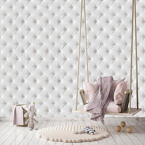 murimage Papel Pintado Cuero Blanco 274 x 254 cm Incluyendo Pegamento Fotomurales Lujo óptica 3D Diamantes Brillo Acolchado Dormitorio