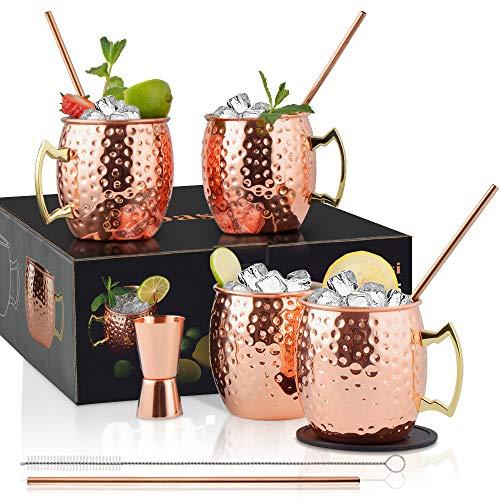 Yoassi Set di 4 Bicchieri di Rame Moscow Mule Fatti a Mano e Martellati 530ml Tazza Moscow Mule Double Wall con 4 Sottobicchieri, 4 Cannucce, Spazzola Paglia e Misurino, Regalo