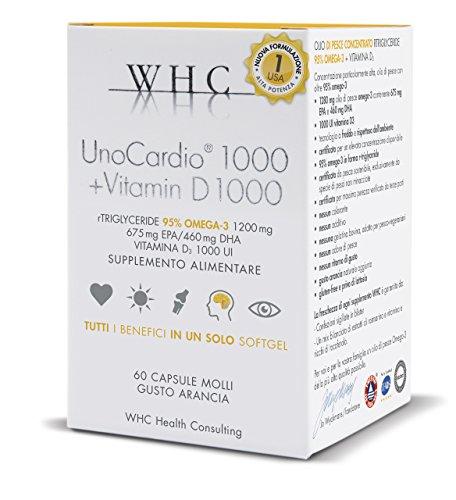 Unocardio 1000 Omega 3 Concentrato al 95% + Vitamina D 1000 IU, 60 Capsule da 1200 mg estratto a Freddo, 5 Stelle IFOS