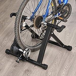 HOMCOM Rodillo Entrenamiento Bicicleta 5 Niveles de Resistencia por Cable Cicloentrenador Acero Bici Color Negro 54.5x42.2x39.1cm