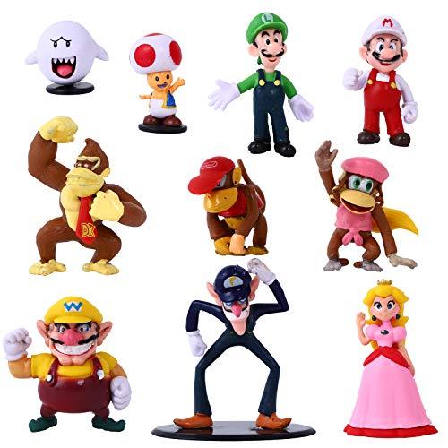 YNK Super Mario Toys, 10 Pcs Figuras de Mario Juguete de PVC de Mario, Super Mario Bros Regalos para Niños (A)