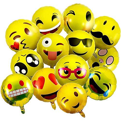 vientiane Emoji Ballons, 26 Stück Folienballon Helium Luftballons Gesichtsausdruck Balloons Emoticon Smiley für Geburtstag Urlaub Hochzeit Party Dekoration