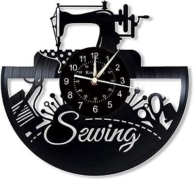 Reloj de pared YHMJ de 12 pulgadas, para coser discos de vinilo, relojes retro hechos a mano para el salón ...