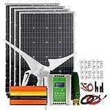 Kit de viento solar de 800 vatios de 24 V sistema híbrido: 4 paneles solares mono de 100 W, generador de turbina eólica de 400 W, controlador de carga MPPT híbrido e inversor de 1000 W y soportes
