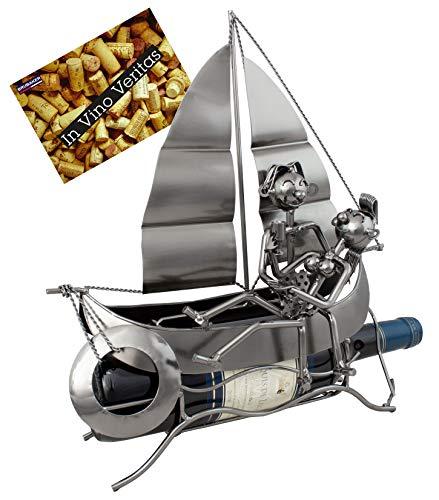 BRUBAKER Porta Botella de Vino - Barco de Vela con los Amantes - Portabotellas de Metal Decoración con Tarjeta de Felicitación - Regalo de Vino