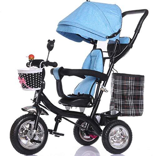 Gymqian Triciclo Del Bebé, Cochecito de Niños Plegable Steer, Bicicleta/Desmontable de Barandas, Dosel Ajustable, Arnés de Seguridad, Plegable Pedal, Freno, Diseño Absorción de Cho